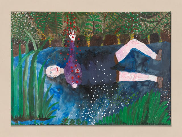 Acrylic on canvas artwork by Chris Miller titled 'Me as Ophelia'. In the artwork a man is laying in a stream, surrounded by woods. The man is reaching upwards to some falling red dots.