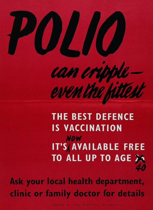 """British Ministry of Health poster stating """"the best defence"""" against polio """"is vaccination"""", around 1940"""