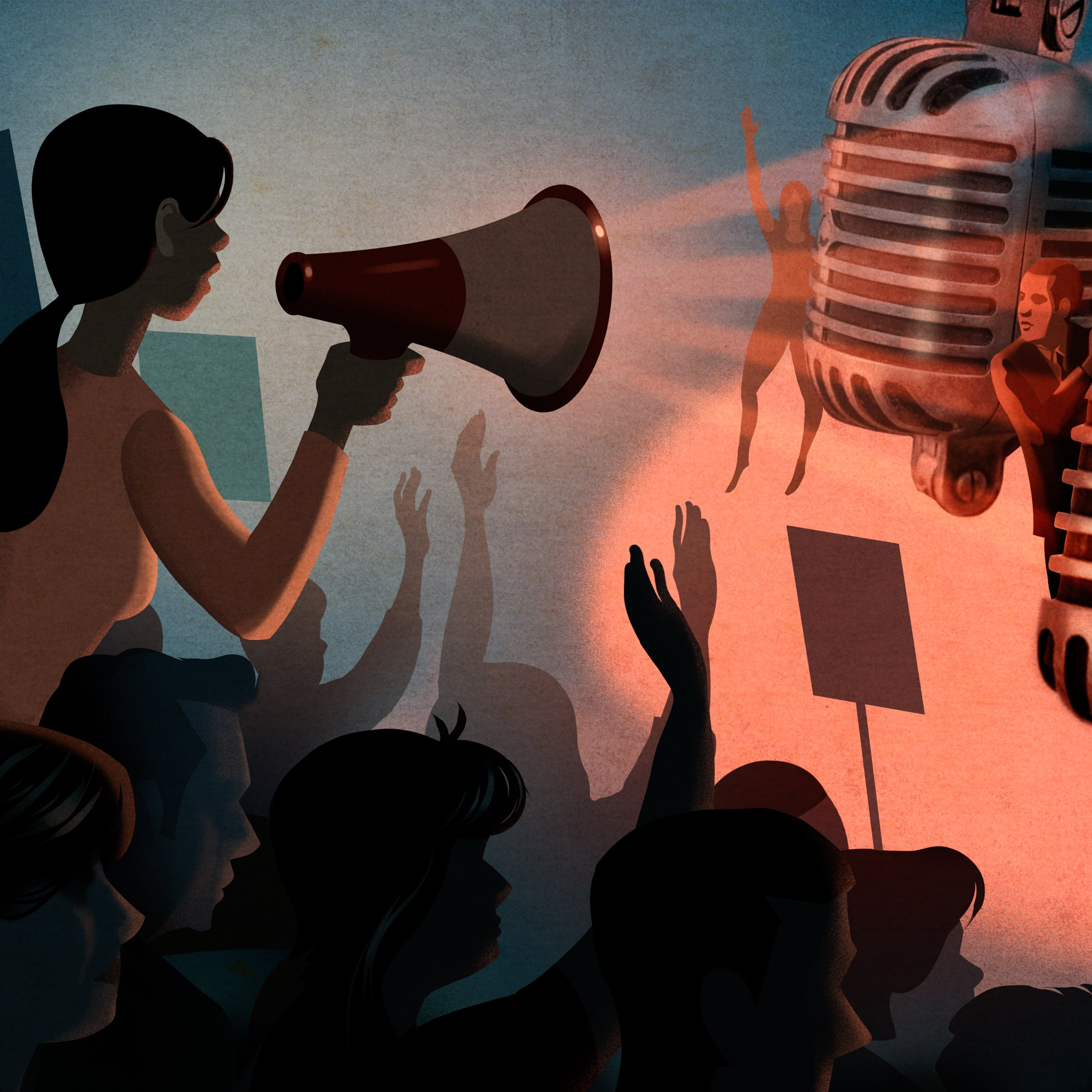 Illustration of a female figure on the left hand side who is rising up out of a larger crowd of people. She is holding a loudhailer to her mouth and speaking. The crowd are raising their hands in support, some hold placards. In front of the crowd are two over-scale broadcast microphones being held by 4 individuals pushing them slightly towards the crowd. The hues of the illustration are muted reds, blues and whites.
