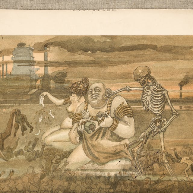 Photograph of a watercolour painting against a textile background, depicting a semi naked man and woman kneeling in dirt next to a skeleton. Factory chimneys billowing smoke are in the background.