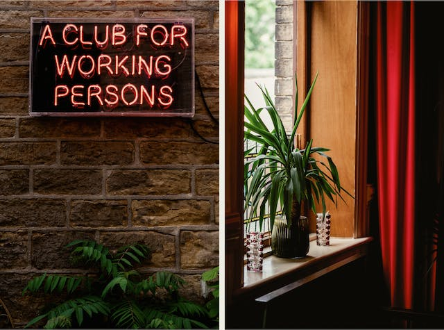 """Photographic diptych made up of two portrait orientation images. The image on the left shows a bare brick interior wall on which a red neon sign has been hung. The sign reads, """"A club for working persons"""". At the bottom of the image the tops a several green plants can be seen. The image on the right shows a window alcove from a horizontal angle. Framing the window is a long red curtain. Sitting on the window sill is a large green leafed house plant in a glass ribbed pot. Either side of the pot are two small glass vases, made up of an intricate moulding."""