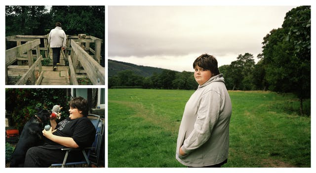 A cluster of 3 photographs, one large and two. The small top left photograph shows a teenage boy in a grey hooded top walking away from the camera over a wooden bridge. The small photograph bottom left shows the same boy sitting in a patio chair playing with a dog. The large photograph on the left shows the same boy standing in a field looking over his shoulder to camera.