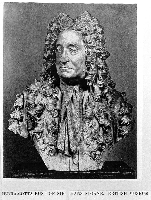 Monochrome photo of bust of Hans Sloan, a man with a long curly wig and a neck scarf