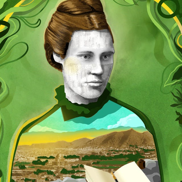 Illustration of Lillias Hamilton surrounded by greenery.