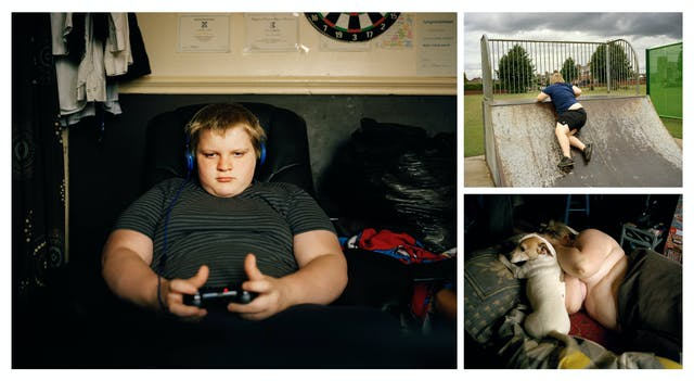 A cluster of 3 photographs, one large and two. The small top right photograph shows a teenage boy climbing onto a skateboard ramp in a park. The small photograph bottom right shows the same boy lying in bed with his top off, next to a small dog. The large photograph on the right shows the same boy sitting in a chair with headphones on and a games controller in his hands.