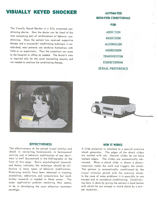 An advertisement with text and images for an electrical shock device.