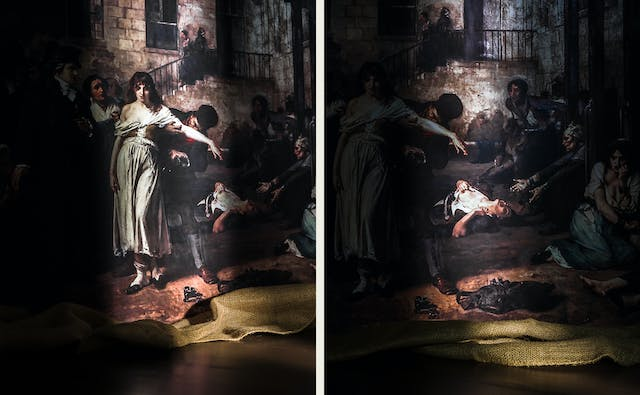 Photographic diptych showing two oils paintings. The image on the left shows a section of an oil painting resting on a hessian sheet. A shaft of light reveals a section of the painting showing a woman standing with her arm outstretched whilst a man removes a restraint from around her waist. The image on the right shows a section of an oil painting resting on a hessian sheet. A shaft of light reveals a section of the painting showing a woman lying on the floor open-mouthed, pulling her clothes to reveal her breast.