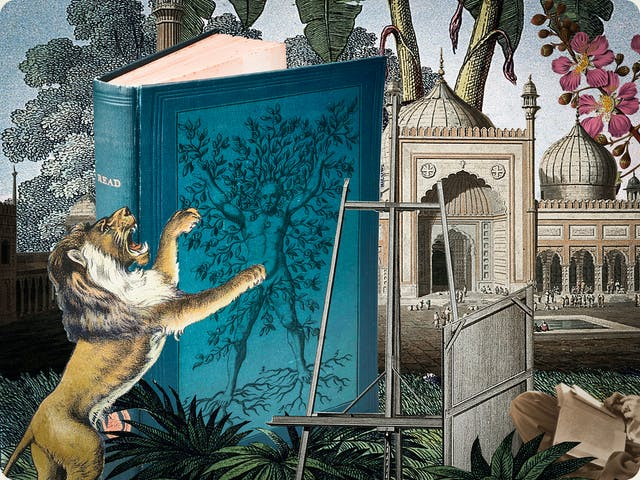 Artwork using collage. The collaged elements are made up of archive material which includes vintage photographs, etchings, painted illustrations, lithographic prints and line drawings. This artwork depicts a scene with an urban and rural combined background. In the middle distance an are tall palm trees and large pink flowers. In the foreground on the left is a lion on his hind legs, mouth open in a roar. Behind and to the right of the lion is a large blue hardback book. On the cover is the figure of a naked man with his arms outstretched above his head. Branches grow out of his arms, torso and legs and roots grow out of his feet. Next to the book is an empty artist