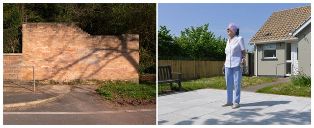 A photographic diptych. The image on the left shows a yellow brick garden wall on which a long shadow of a tree and its branches are cast. The image is taken from the road and shows a concrete path and handrail to the left, and a small patch of grass verge to the right. The image on the right shows a paved area with a wooden bench. Beyond that is a concrete path with a handrail between a lawn strewn with daisies, leading to a small grey bungalow. On the paved area in the foreground stands a tall elderly woman looking off to the left wearing blue trousers, a light blue short sleeved shirt, and gardening gloves. She is also wearing small round sunglasses, and has short grey/purple fluffy hair