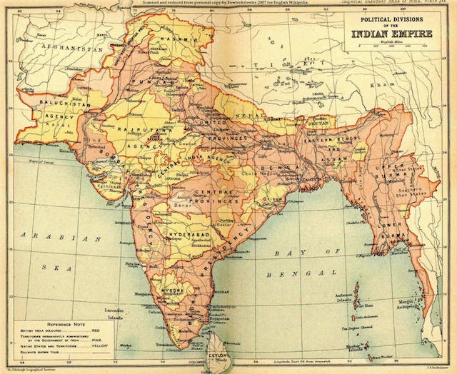 Political divisions of the Indian Empire, 1909