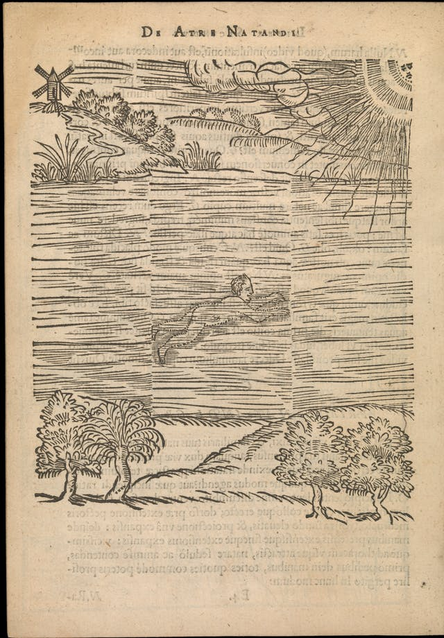 Line engraving of a man swimming in a body of water with trees on the shore below and a windmill on the shore above.