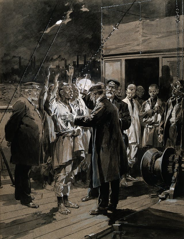 A medical officer inspecting the crew of a ship in the Thames for plague, F de Haanen, 1905