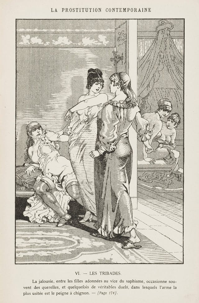 A page showing a black and white drawing of several women. In the foreground, one woman is lying back on a seat, while another woman is holding onto her. She is facing a third woman with an angry expression, who is wearing a long dress with her back to the picture. In the background there are two undressed women watching the scene.