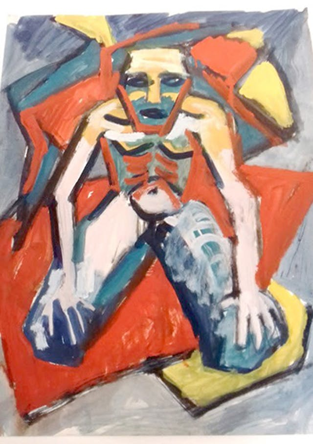 A brightly coloured painting of a kneeling man with an angular face and a stylised ribcage on his chest.