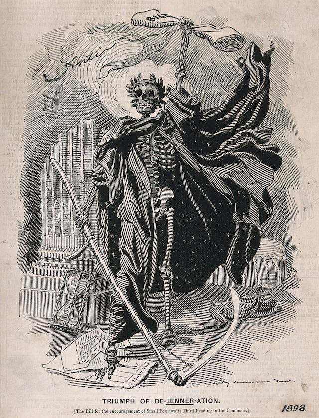 Death as a skeletal figure wielding a scythe, representing fears concerning the Act of 1898 which made vaccination against smallpox compulsory.