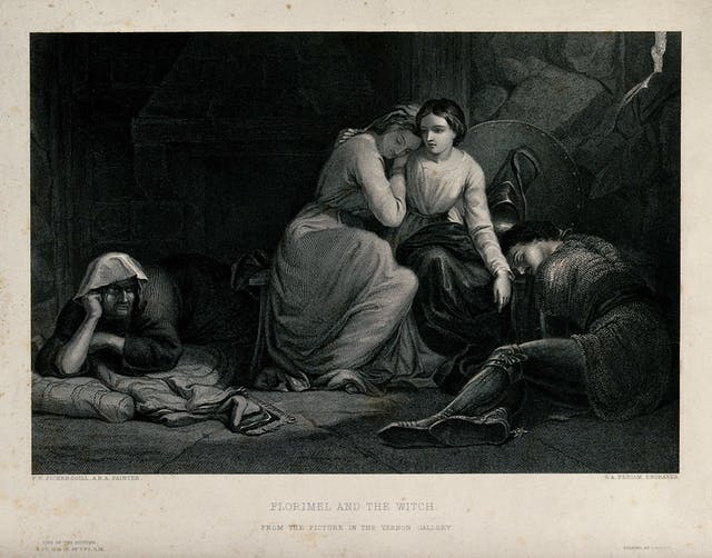 Black and white illustration showing two women embracing, with two men lying on the floor beside them.
