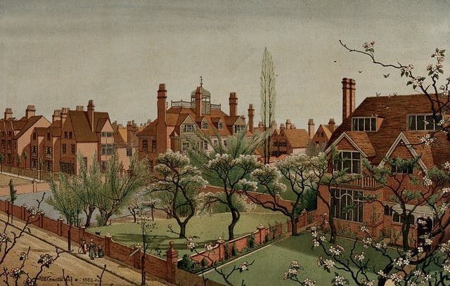 A lithograph of the Bedford Park suburb showing large red brick houses, communal garden spaces and flowering trees with white blossoms.
