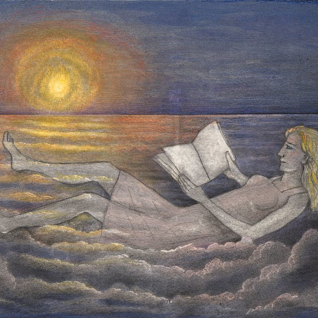 Pencil and watercolour artwork drawn over an engraving which depicts a sky-scape of clouds with the sun shining across them. Drawn on the clouds is a reclining woman wearing a dress, reading a book. The warm orange and yellow hues of the sun stretch out into the blue hues of the sky and the clouds.
