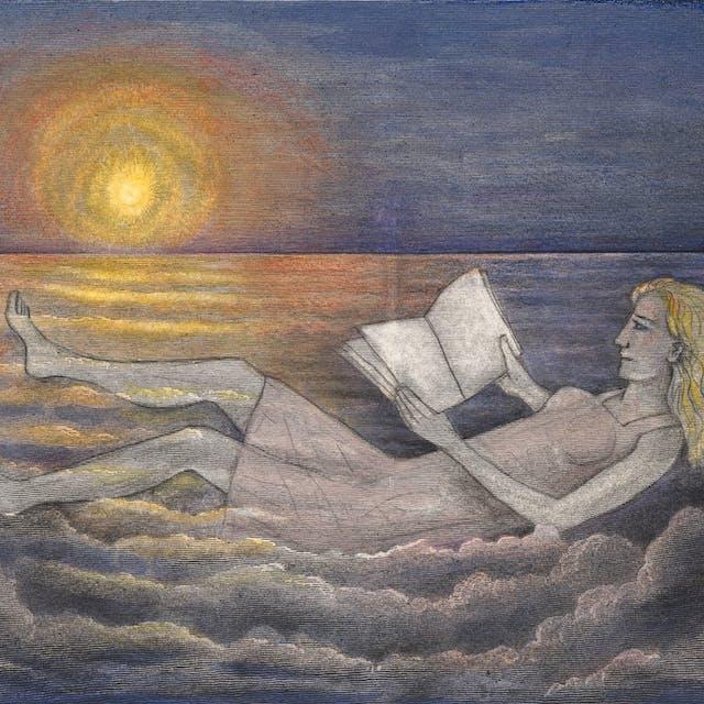 铅笔和水彩艺术作品在雕刻画,描绘了云彩的天窗与横跨他们的太阳。绘制在云上是一个躺着穿着衣服的斜倚女人,读一本书。太阳的温暖橙色和黄色色调延伸到天空和云的蓝色色调中。
