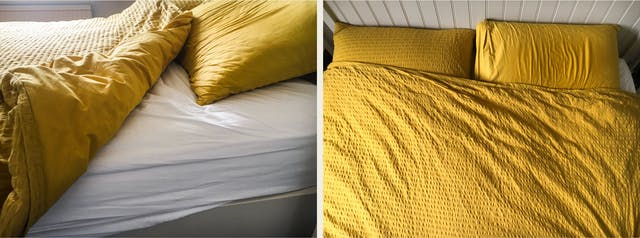 Photographic diptych. The image on the left shows a closeup view of a double bed with the duvet folded back to reveal the white sheet and side of the mattress. The pillow cases and duvet are a mustard colour. The image on the right shows the same bed but from above looking down, cropped into the duvet and 2 pillows. The duvet is now no longer folder and covers the full width of the bed