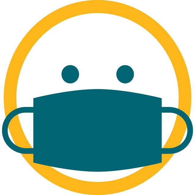 Icon of a round yellow face with a blue protective facemask.
