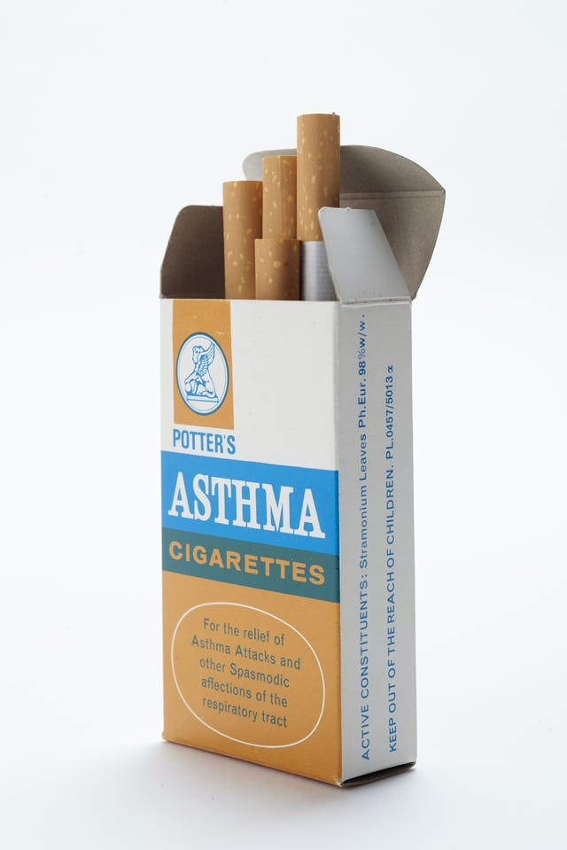 "Colour photograph of packet of cigarettes labelled as being ""for the relief of asthma attacks and other spasmodic affections of the respiratory tract""."