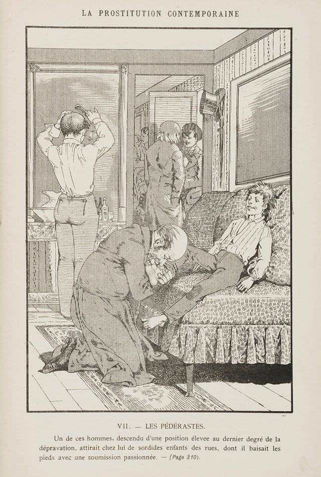 A black and white drawing showing multiple men in a room, one sitting down having his foot kissed by another man, one combing his hair, and two men having a conversation in the background.