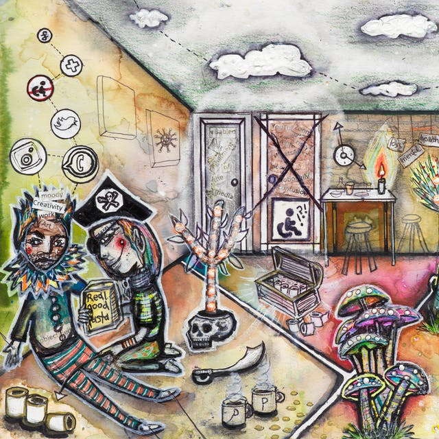 Artwork using watercolour and ink incorporating collaged words throughout the scene. The artwork shows a busy multi-coloured household room separated by intersecting white lines drawn across the floor.  The theme is that of a desert island containing elements such as: a treasure chest filled with toilet rolls; a wall clock with oversized hands; an artwork depicting the coronavirus; a doorway with a large cross drawn through it on which there is a disabled symbol of a wheelchair; a rainbow painted on a wall; and a small rocket with the words 'medical' and 'NHS' taking off out of a palm tree. In the background, a bath overflows with turquois water onto golden sand leading to the foreground where a video camera with the word 'pandemic' is mounted on a tripod. Opposite that, a man dressed in a ruff and a crown sits against a wall looking tired with various icons including a disabled symbol with a wheelchair, as well as those belonging to social media joined by dotted lines above his head. On his crown are the words 'moody', 'creativity', 'work' and 'art', while on his chest is the word 'objectified'. Kneeling beside him, another person dressed as a pirate, holds a box of pasta.