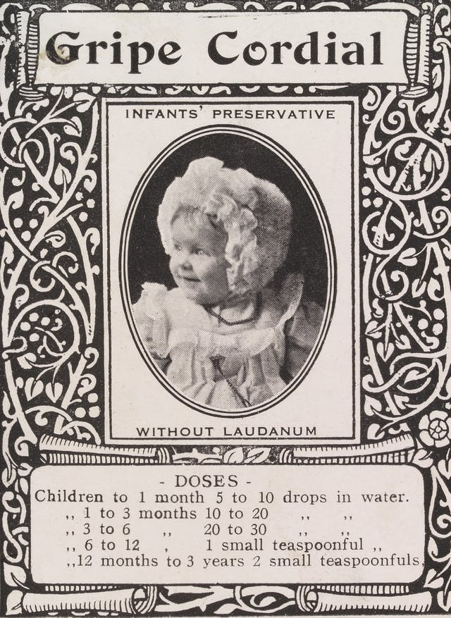 Label for Gripe Cordial featuring a smiling baby