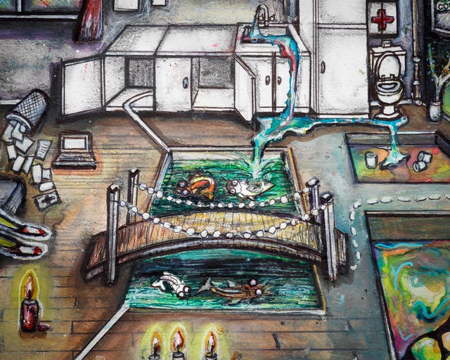 Artwork using watercolour and ink incorporating collaged words throughout the sArtwork using watercolour and ink incorporating collaged words throughout the scene. The artwork shows a busy household room with a kitchenette with an overflowing sink, a toilet and a first aid box in the background. In the foreground a lowered area in the floorboards provides a rectangular pond with fish, and a little bridge across it with string lights. Water from the overflowing sink pours into the pond.