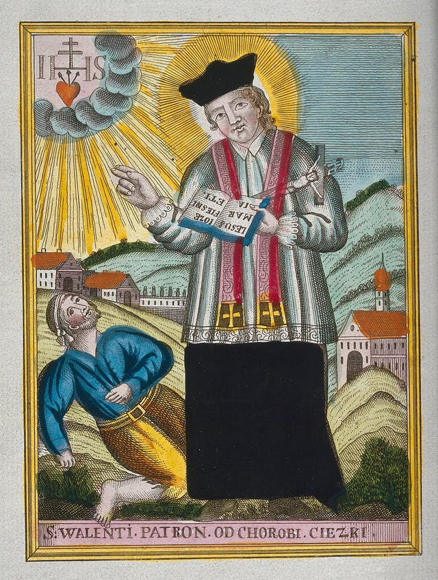 St Valentine blessing a man at his feet who has 'falling sickness' – an old name for epilepsy .
