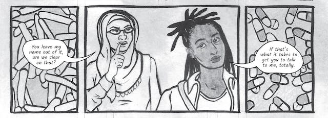 The greyscale graphic novel continues. The eighth image contains three illustrated boxes. The box on the left contains drawings of micro bacteria and on the left medicine pill capsules. In the centre box are the head and shoulders of the two women in conversation. Dr Siddiqui says,