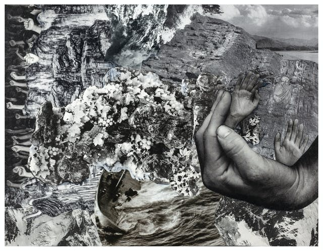 Photographic collage using images cut out from magazines and books. The scene depicts a complex and confusing image. To the left side, a sea of arms making fists all stick out horizontally. To the left side a large hand enters the image cradling two more hands which are held out as if asking for help. Behind these hands, against a cliff face a small skeleton can be seen in the foetal position. The centre of the frame contains fragments of fruit, rock faces, foliage and the bow of a ship ploughing through water. The overall tones of the collage are monotone, blacks, whites and greys.