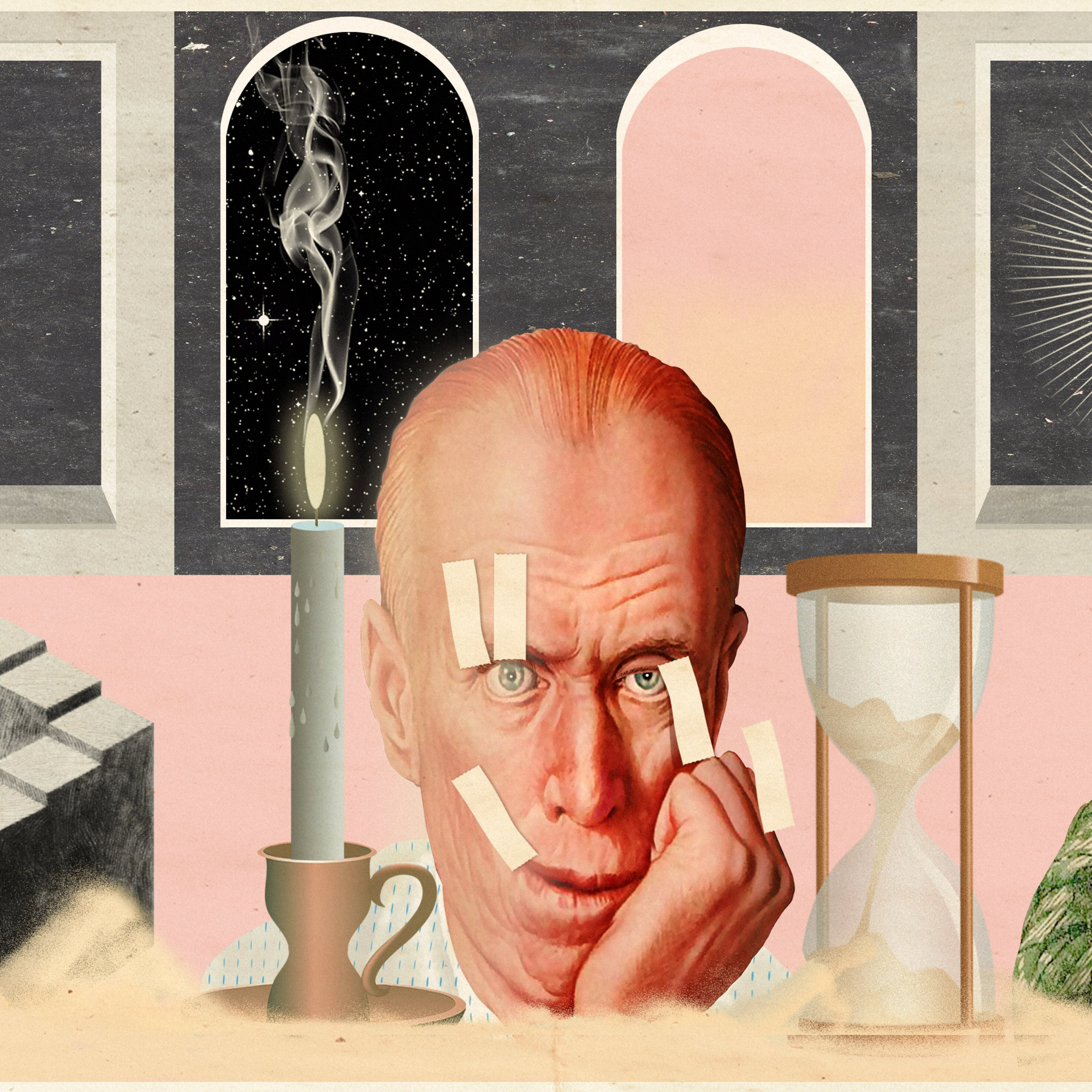 Mixed media digital artwork combining found imagery from vintage magazines and books with painted and textured elements. The overall hues are pastel yellows, pinks and greys with elements of harsh reds and oranges. At the centre of the artwork is an elderly man's face, his cheek resting on his hand. His thinning hair is swept back over his head and his eye stare blankly out in the distance. His right eyelid is being held open by two lengths of yellow tape and the right corner of his mouth is being held up into a forced smile by another length of tape. He looks exhausted. Behind his head are 2 doorways, one with a starry night sky and the other with a pink and yellow sunset sky. To the far left is a window with a diagram of the moon int he centre. To the far right is a window with a pictorial representation of the sun. To the left of the man's face is a large lit candle in a candlestick holder. To the right is a large hourglass which is cracked at the base, spilling sand out into a thick band across the bottom of the image. To the far right foreground is a diagram of a never ending staircase. To the far right foreground is a drawing of the back of the head and shoulders of a young man wearing a green checked jacket holding up an oval mirror in front of his face. His face in the reflection is of an old version of himself.