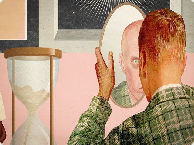 Detail from a larger mixed media digital artwork combining found imagery from vintage magazines and books with painted and textured elements. The overall hues are pastel yellows, pinks and greys with elements of harsh reds and oranges.  To the far right foreground is a drawing of the back of the head and shoulders of a young man wearing a green checked jacket holding up an oval mirror in front of his face. His face in the reflection is of an old version of himself. To his left is a drawing of an hourglass with the sand running through.