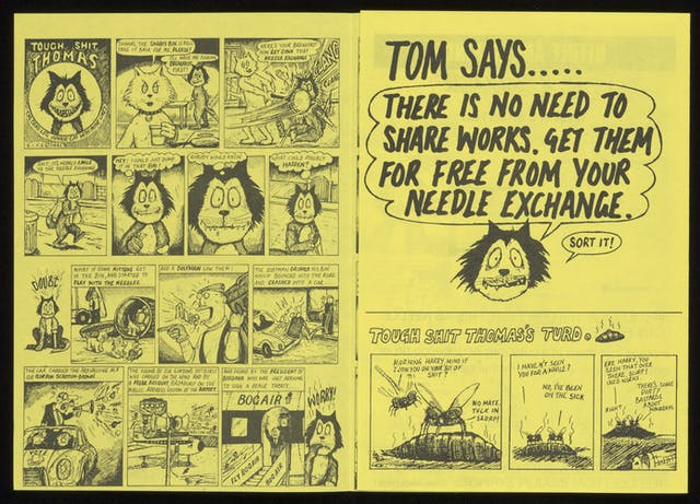 Black text and images on bright yellow paper, a comic strip featuring Tough Shit Thomas, a cat.