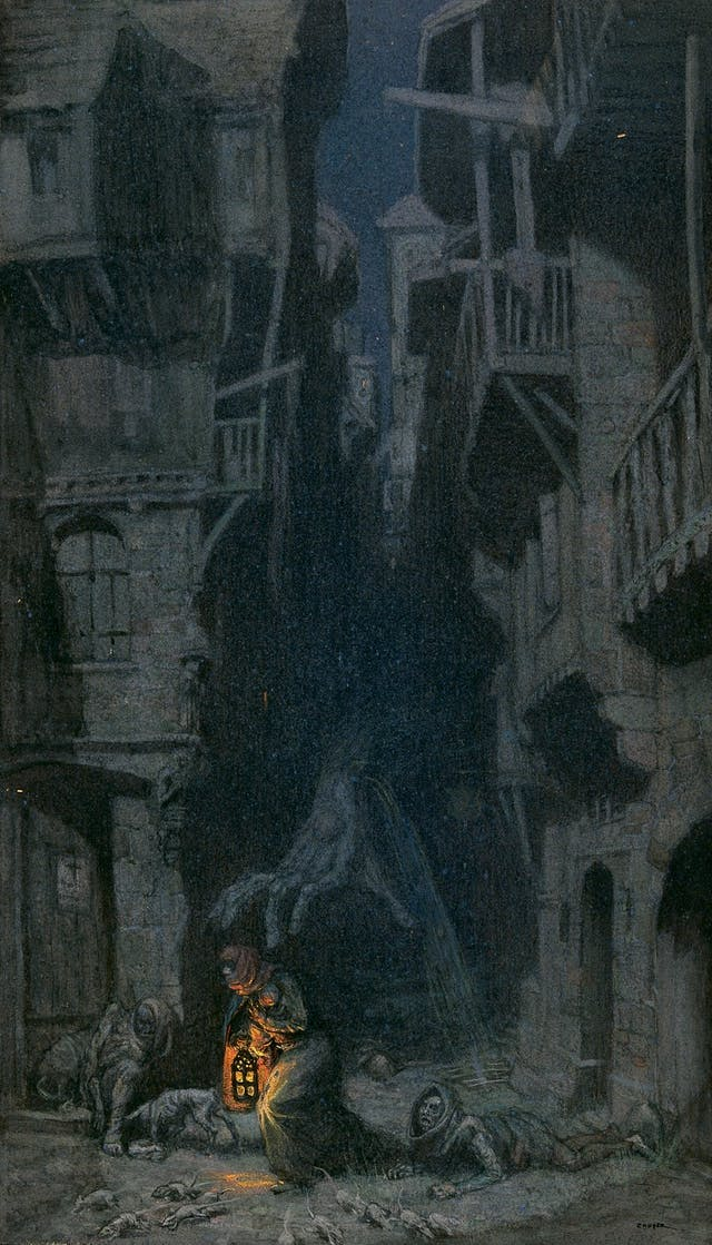 Dark drawing of street with crouching man in the middle clutching a lantern