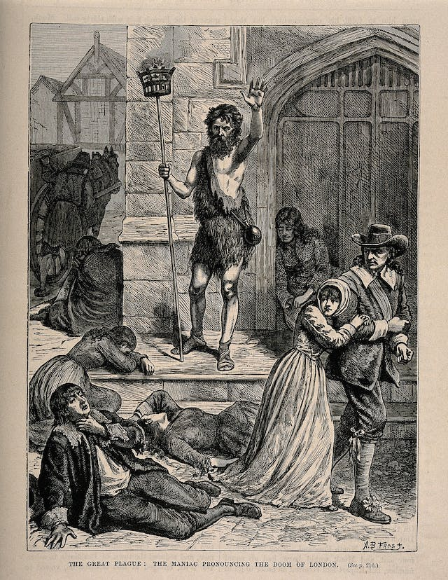 A man announcing the forthcoming doom during London's 1665 plague