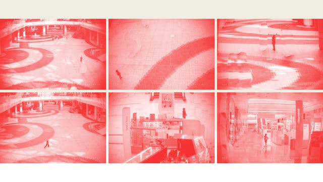 Grid of six pixellated photographs from shopping mall security cameras, where all adults have been crudely