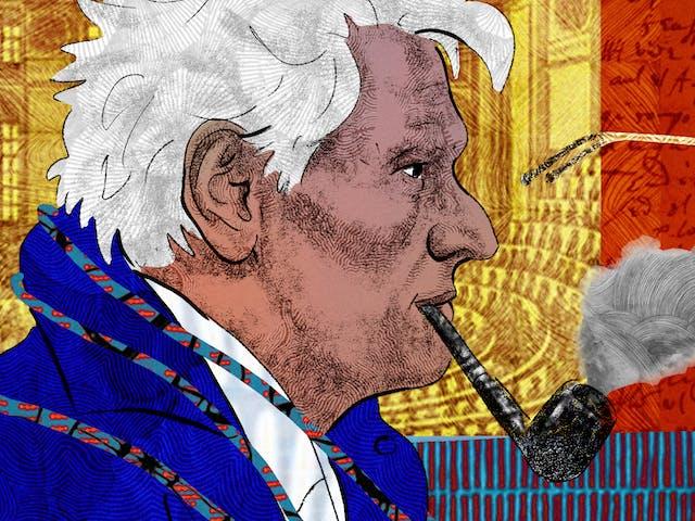 这是一幅抽象数字插图的细节,描绘的是一个面朝右边、叼着烟斗的男人的头部和肩部肖像,描绘的是作家雅克·德里达(Jacques Derrida)。背景是手写笔记和档案材料的拼贴画,描绘了一个讲堂和x光。