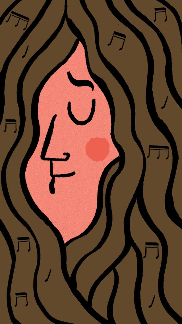 Illustration of a face, with closed eyes, and surrounded by long hair.
