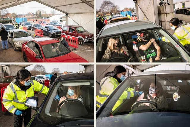 Grid of four photographs, two by two. Each image shows the scene of a drive-through vaccination centre. There are queuing cars waiting for the occupants