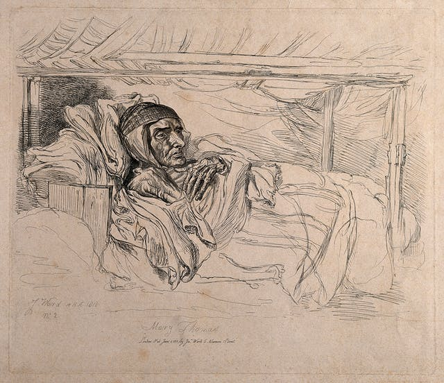 Black and white etching showing a thin woman lying in bed.