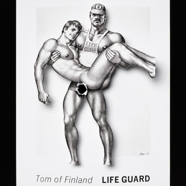 Photograph of an illustration of two men where the body of the men have been cut out and lifted above the background. Where one of the men