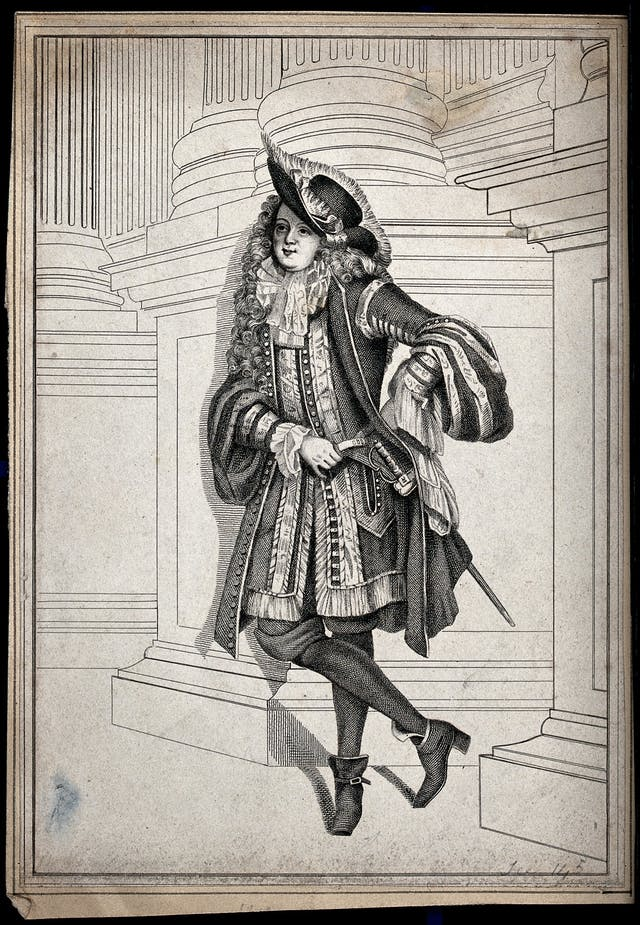 A man dressed in seventeenth century costume leaning against the socle of some double columns