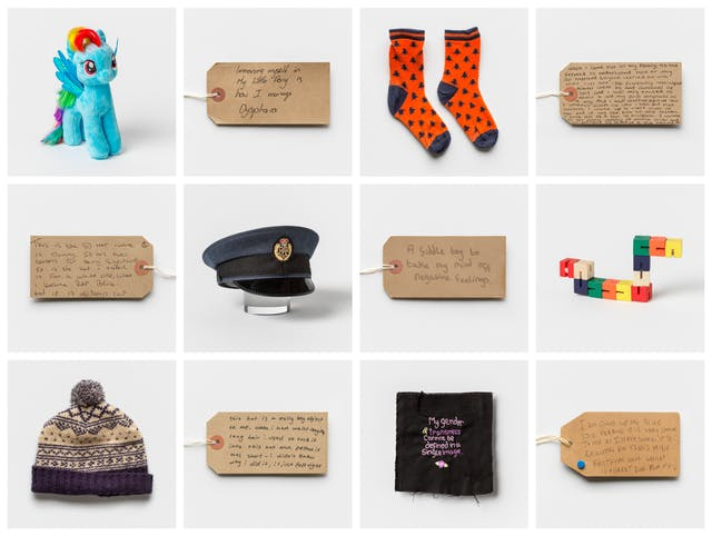 Grid of 12 square photographic images, 4 across and 3 down. The images alternate between a photograph of a brown parcel label complete with string tie and a photograph of an object. On the labels are handwritten messages.  The objects pictured consist of a soft toy pony, a pair of orange socks, a pilot