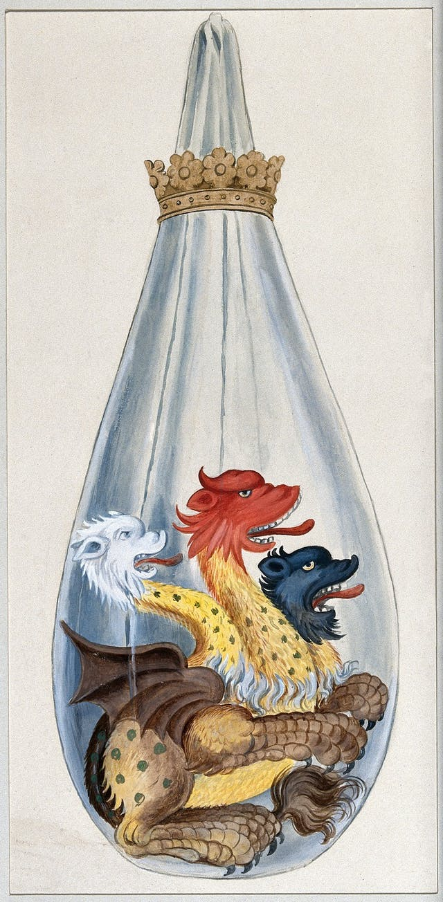Watercolour of three-headed monster in a long blue sack-like flask