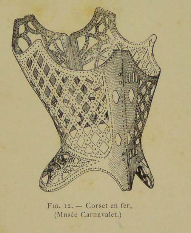 Illustration of the iron corset held by the Musee Carnavalet, Paris.