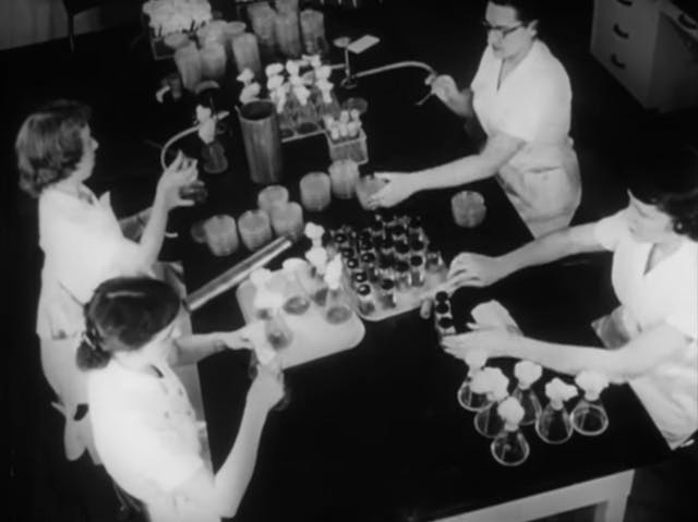 Still from back and white film featuring four women sitting around a lab table operating small cylindrical containers.