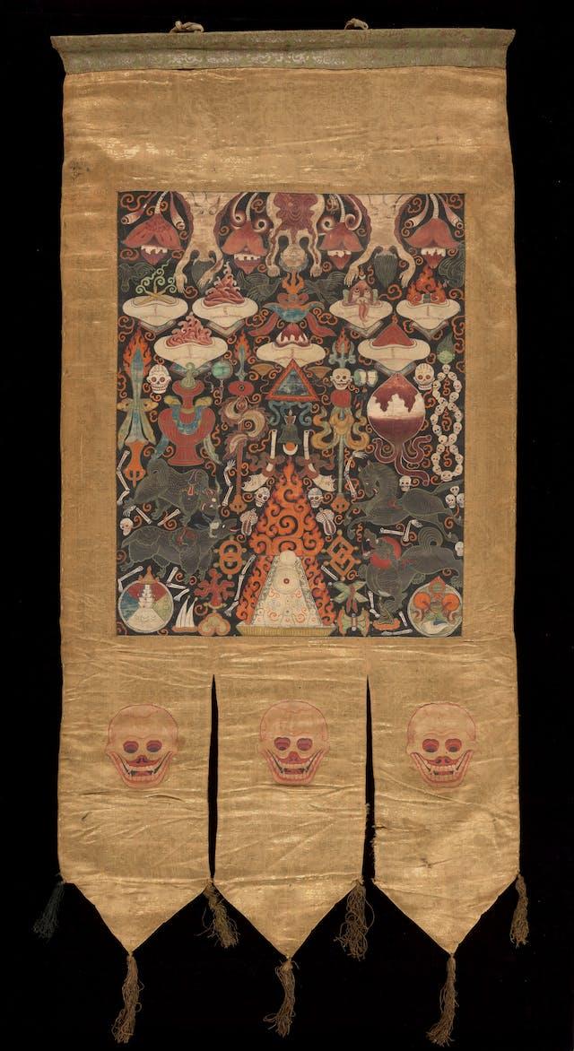 Buddhist banner showing four-faced turban-clad Brahma.